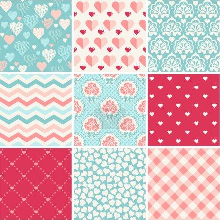 Seamless patterns set - Romance, love and wedding theme