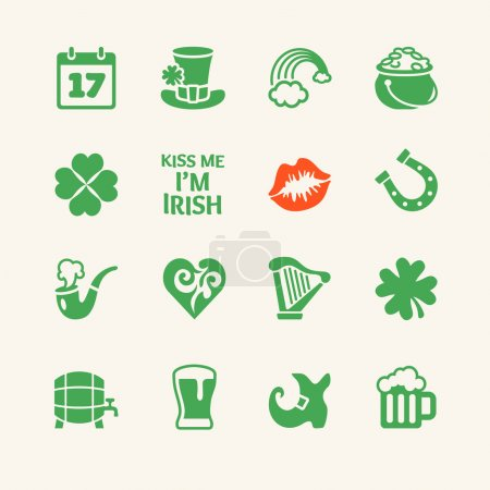 Saint Patrick's Day. Universal flat icons set