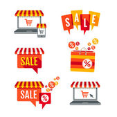Sale tags Laptop with awning and shopping bag icons set