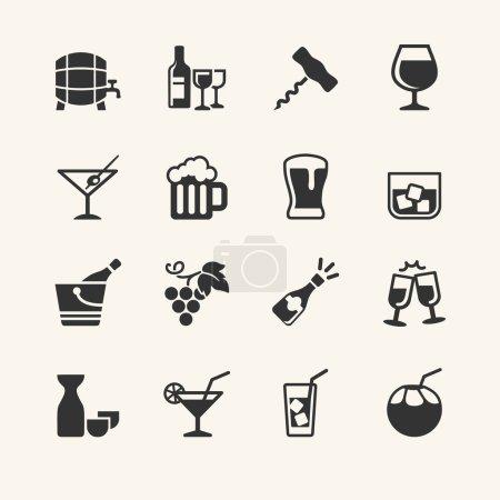 Illustration pour Boisson alcoolisée - ensemble icône - image libre de droit