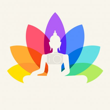 Illustration for Silhouette of Buddha sitting on a lotus flower background - Royalty Free Image
