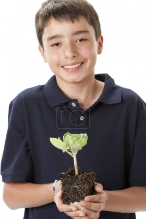 Smiling teen boy holding green brussel sprout plant