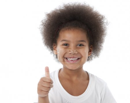 Photo for African american little girl giving thumb up as a sign of approval - Royalty Free Image