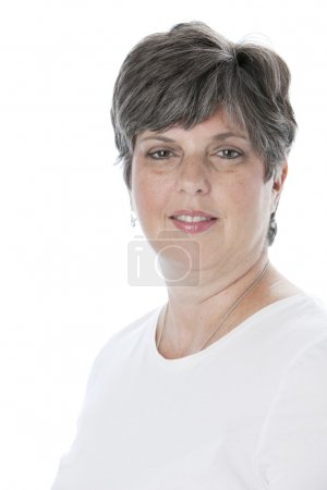 Smiling caucasian adult woman