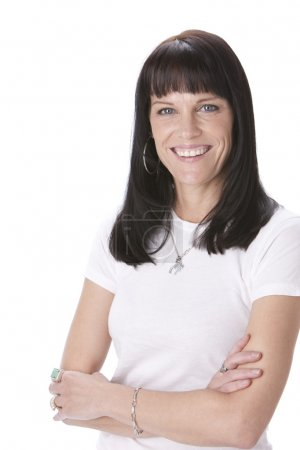 Waist up image of a smiling caucasian woman