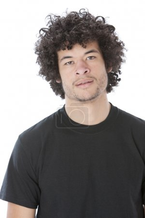 Mixed race young man with a serious or assertive expression