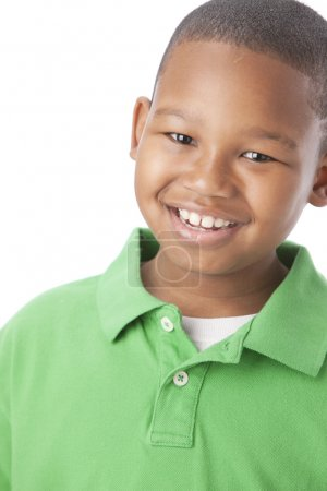 African american little boy with big smile on his face