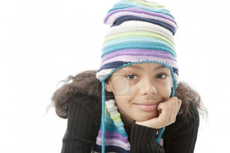 Relaxed and thoughtful african american preteen girl