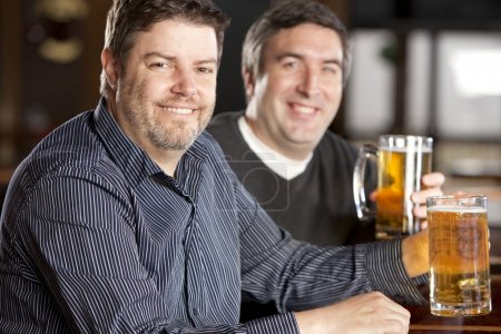 Caucasian adult men sitting at a bar with mugs of beer.