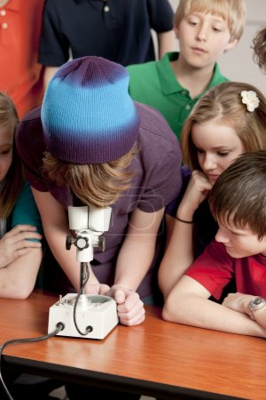 School Science. Students in the school classroom looking at something under the microscope