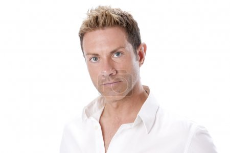 Real. Serious caucasian man