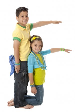 Photo for Multicultural children work together to form the letter F. - Royalty Free Image