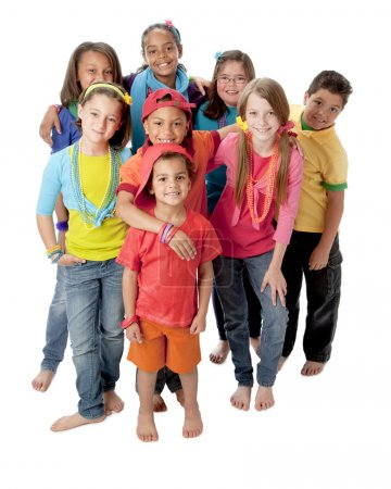 Diversity. Group of little girls and boys standing together in colorful clothes to symbolize diversity
