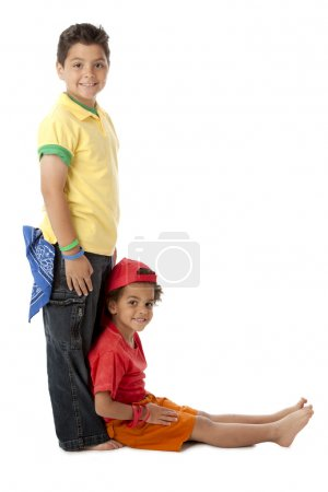 Photo for Multicultural children work together to form the letter L. - Royalty Free Image