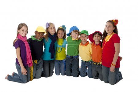 Diversity. Group of diverse little boys and girls with their arms around each other