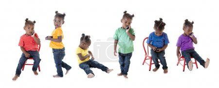 A composite image montage of a toddler girl in many colorful shirts