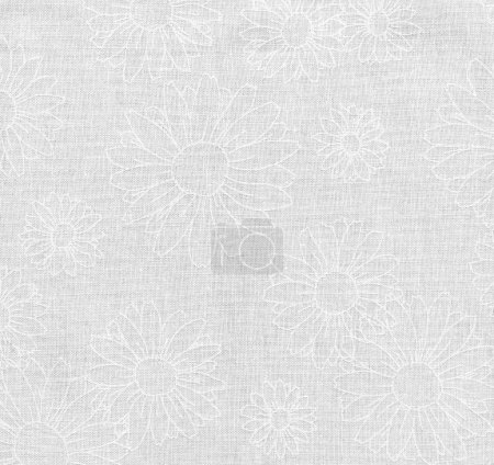 High resolution white fabric with white floral daisy pattern