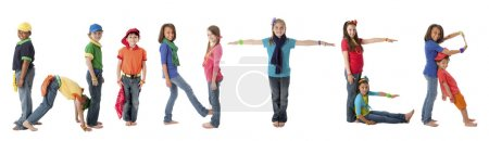 Human Alphabet. Multicultural children work together to form letters of the alphabet with their bodies