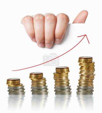 Photo for Economy positive charts: hand holding white paper with money and arrow up - Royalty Free Image