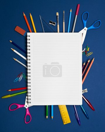 Back to School Series: shool supplies on blue background