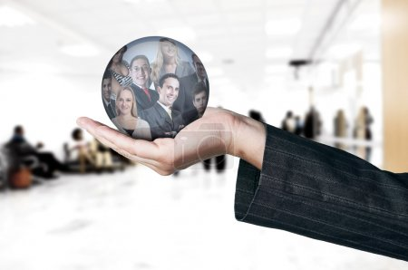 Photo for Human Resources concept. Hand choosing employees options - Royalty Free Image