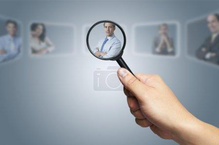 Foto de Concepto de Recursos Humanos: elegir el candidato perfecto para el trabajo - Imagen libre de derechos