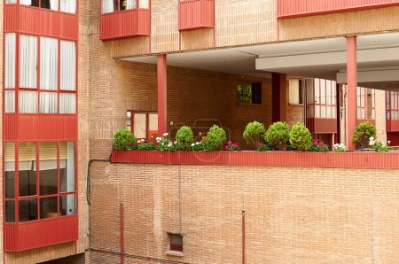 Architecture concept, brick building and windows