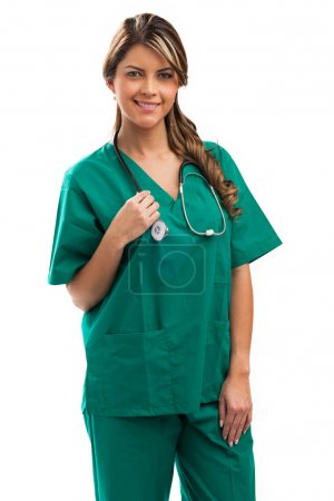 Smiling medical woman doctor with stethoscope. Isolated over whi