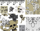 Floral Rose Skull Vector Seamless Patterns and Icons