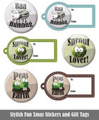 Stylish Fun Xmas Stickers and Gift Tags