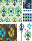Art Deco Style Peacock Vector Seamless Patterns and Icons