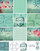 Thai Buddha inspired vector patchwork pieces and elements Use as fills digital paper or print off onto fabric to create large patchwork pieces for sewing projects Three patterns are seamless