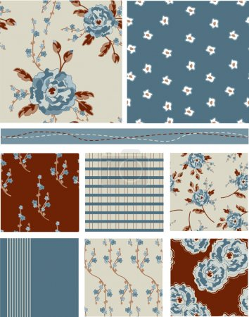 Modern Chic Floral Seamless Vector Patterns and fills.