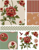Vintage Style Floral Seamless Vector Patterns and Elements