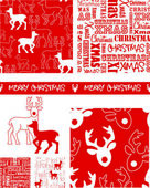 Xmas Reindeer Vector Patterns.