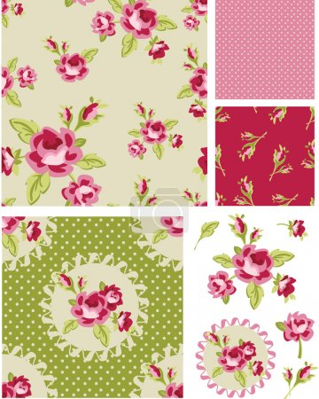 Illustration for New Rose Floral Vector Seamless Patterns. Use as fills, digital paper, or print off onto fabric to create unique items. - Royalty Free Image