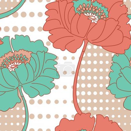 Retro Poppy Seamless Vector Pattern.