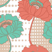 Retro Poppy Seamless Vector Pattern