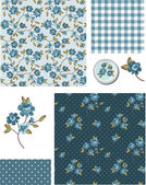 Shabby Chic Blue Rose Vector Seamless Patterns Use as fills digital paper or print off onto fabric to create unique items