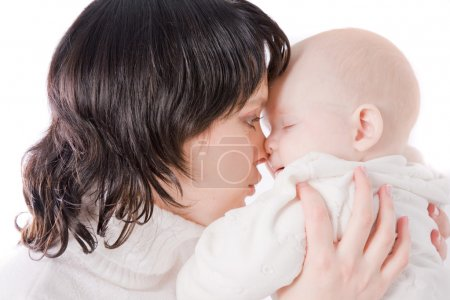 Photo for Picture of happy mother with baby over white - Royalty Free Image