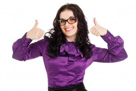 beautiful smiling brunette woman showing thumbs up