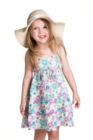 Photo for Little blonde girl wearing big white hat and dress making faces over white background - Royalty Free Image