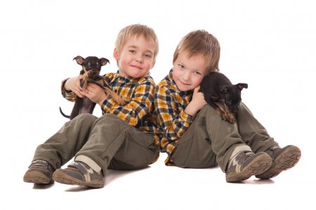 Smiling boys holding puppies lie on the floor