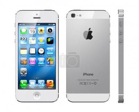 Photo pour Trois projections de blanc Apple iphone 5 - image libre de droit