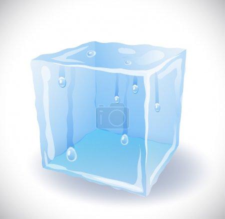 Illustration pour Cube de glace avec gouttes - image libre de droit