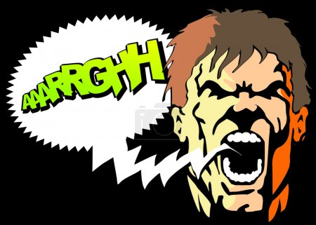 Illustration for Bubble speech with text arghhh written. Comic style illustration of an angry man screaming with his mouth open. - Royalty Free Image