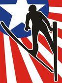 Flying skier silhouette