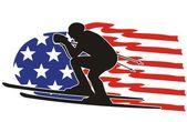 American skier silhouette