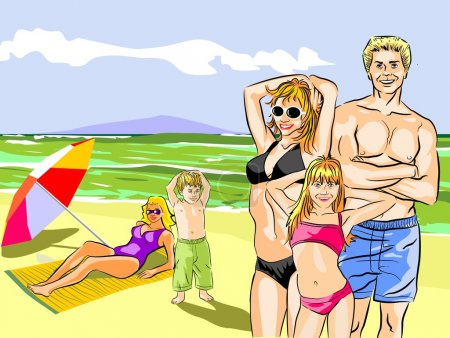 Family portrait on the beach