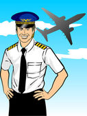 Airline pilot wearing shirt and tie with epaulets and hat Conceptual image about the aviation industry and the safety of international flights The captains confident smile is reassuring to passengers